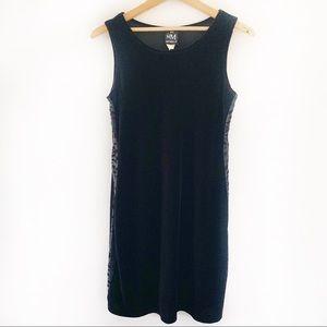 My Michelle Black Velvet Dress Sheer Side Panels